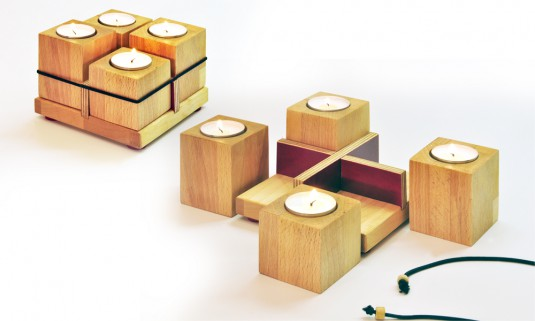 Kerzenhalter aus Restholz